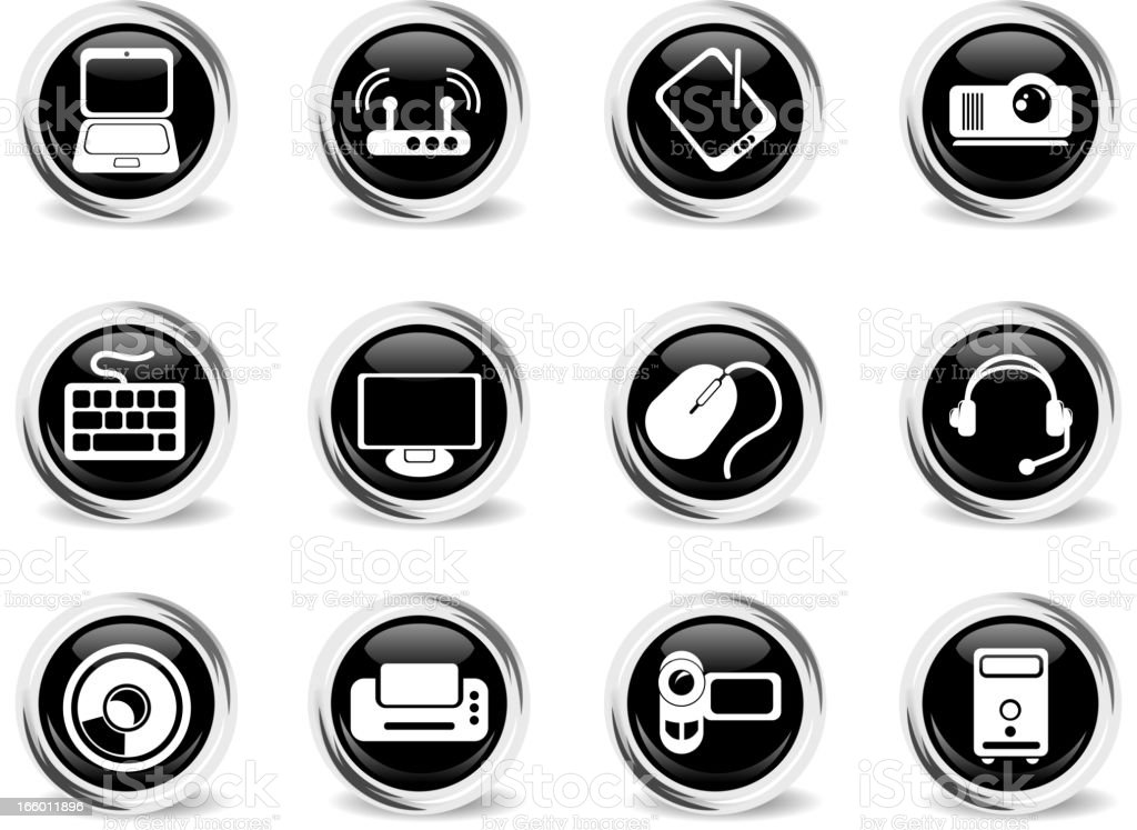 Computer equipment glass vector icons royalty-free stock vector art