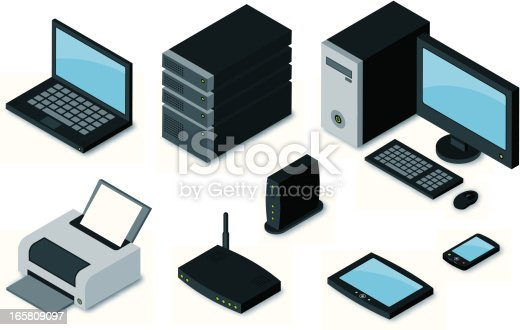 Isometric computer network electronics. Gradients used. All colors are global.