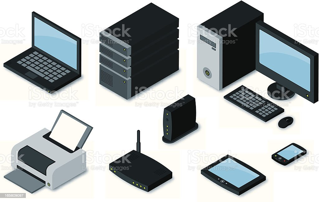 Computer Equipment Icons vector art illustration