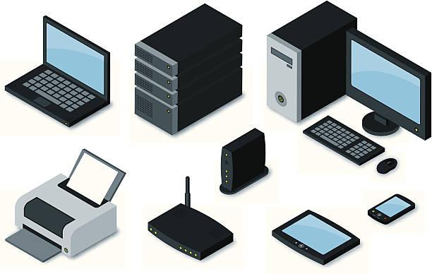 stockillustraties, clipart, cartoons en iconen met computer equipment icons - router