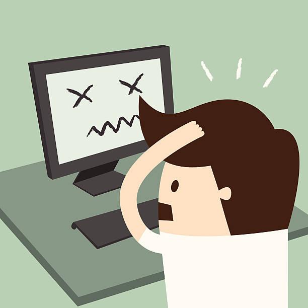 ilustrações de stock, clip art, desenhos animados e ícones de erro do computador - puxar cabelos