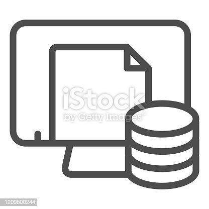 Computer file storage line icon. Paper archive on pc vector illustration isolated on white. Documents on monitor outline style design, designed for web and app. Eps 10