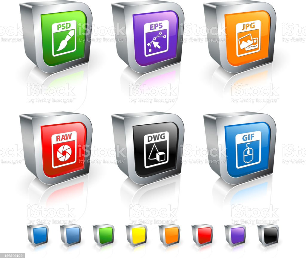 Computer Files 3D vector icon set with Metal Rim royalty-free stock vector art
