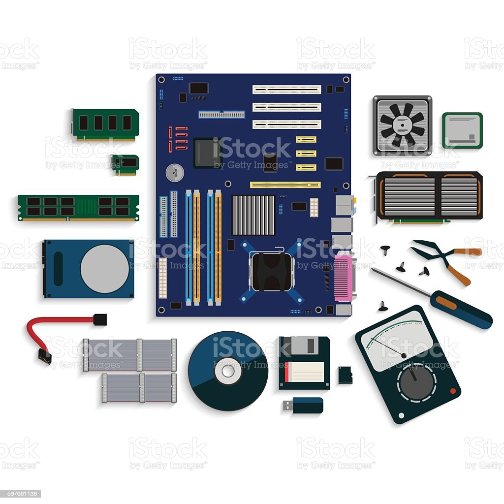 Computer fix repair. Flat design isolated background vector vector art illustration