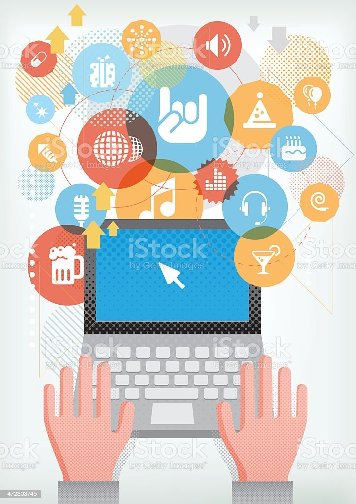 Computer for events and party royalty-free stock vector art