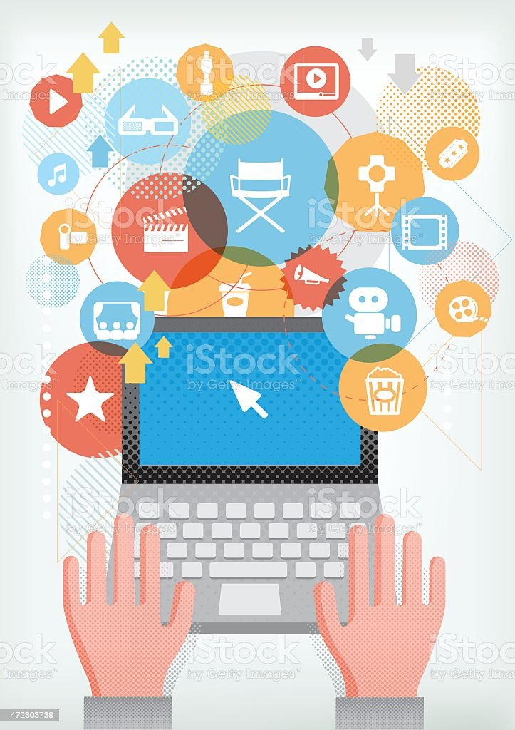Computer for Film making royalty-free stock vector art