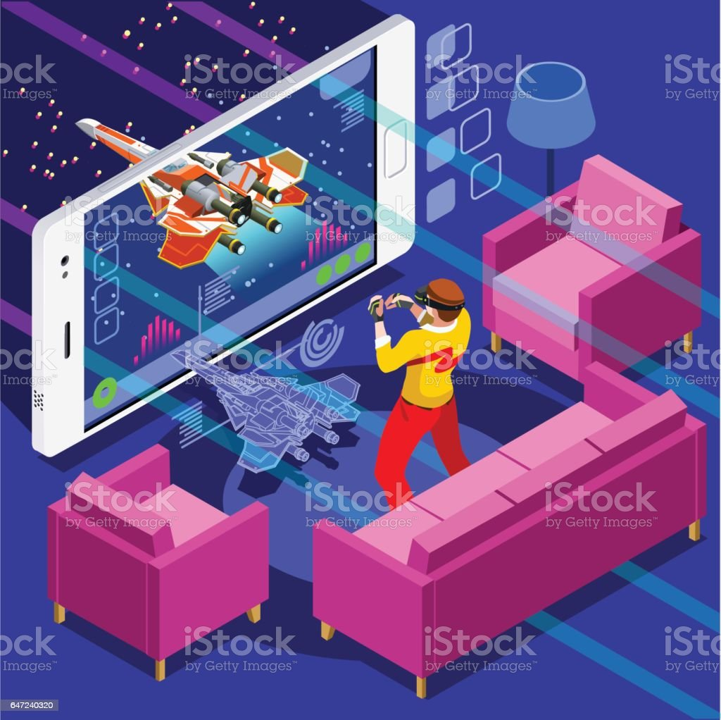 Computer Game Video Gaming Isometric Person Vector Illustration vector art illustration