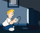 This is a vector illustration of a dedicated computer gamer who is spending all night trying to complete that last level!