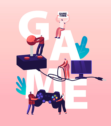 Computer Games Concept. Tiny Characters with Huge Console and Joystick at Tv Screen. Gaming Leisure Addiction, Sparetime