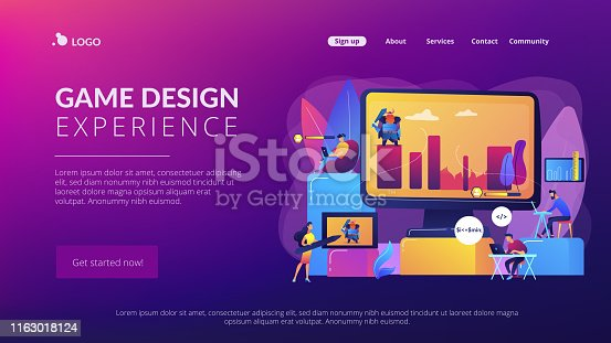 Gaming industry startup, company. Programmers work on videogame. Computer games development, video game programming, game design experience concept. Website homepage landing web page template.