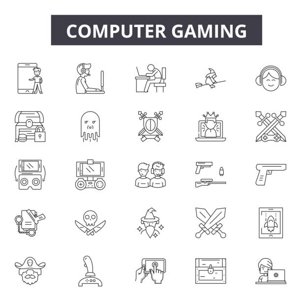 ilustrações de stock, clip art, desenhos animados e ícones de computer gaming line icons for web and mobile design. editable stroke signs. computer gaming  outline concept illustrations - man joystick