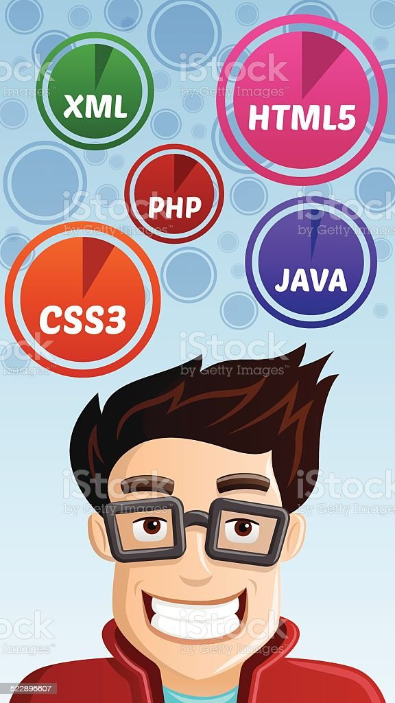 Computer Geek - Programmer with HTML5, CSS3, PHP, JAVA, XML icons...