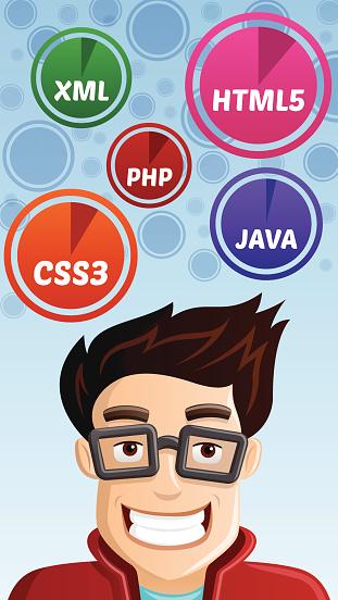 Computer Geek Vector Illustration Symbol Stock Vector