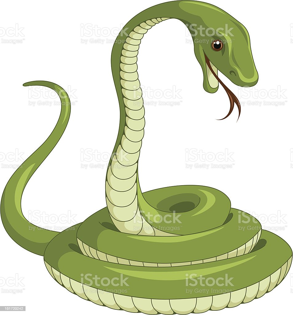 Computer generated picture of a green snake vector art illustration