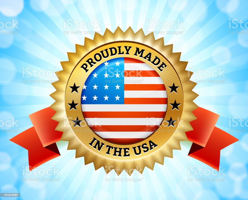 Computer graphic gold badge that reads 'Made in America royalty-free stock vector art