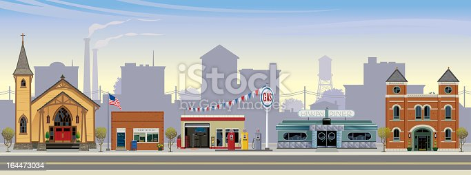 This is a vector illustration of a rural american town. Depicted from left to right are: a craftsman style church, a post office, gas station, art-deco style highway diner, and a town hall. The setting is mid-morning, with highway,  town buildings, smoke stacks and water tower in the distance.