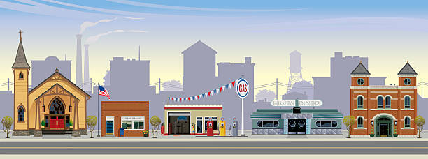 Computer graphic of a small town street This is a vector illustration of a rural american town. Depicted from left to right are: a craftsman style church, a post office, gas station, art-deco style highway diner, and a town hall. The setting is mid-morning, with highway,  town buildings, smoke stacks and water tower in the distance. americana stock illustrations