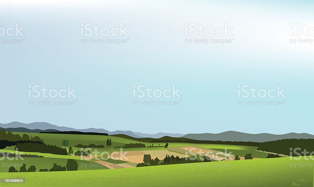 Computer graphic of rolling green countryside royalty-free stock vector art