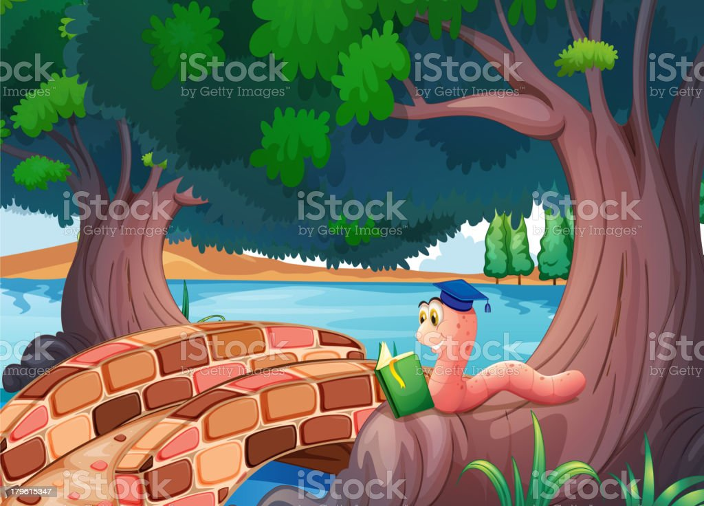 Computer graphic of worm reading book under tree royalty-free stock vector art