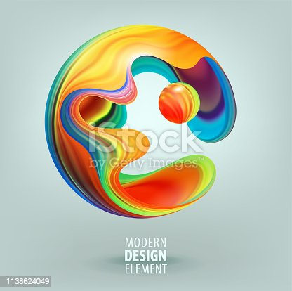 Computer graphic sphere decorated with 3d petals and design elements inside. Vector illustration of logo for your design. Eps10