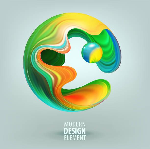 Computergrafik Kugel mit 3D-Blütenblätter und Design-Elemente im Inneren dekoriert. Vektorillustration des Logos für Ihr Design – Vektorgrafik