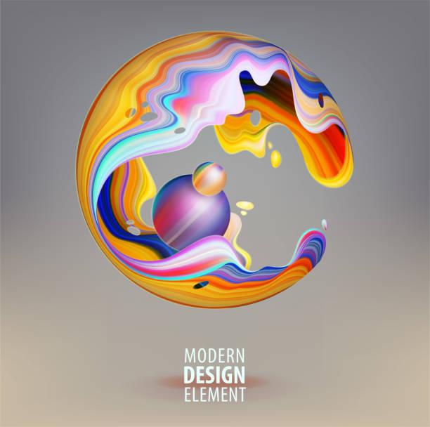 Computergrafik Kugel mit 3D-Blütenblätter und Design-Elemente im Inneren dekoriert. Vector Logo für Ihr Design. Eps10 – Vektorgrafik