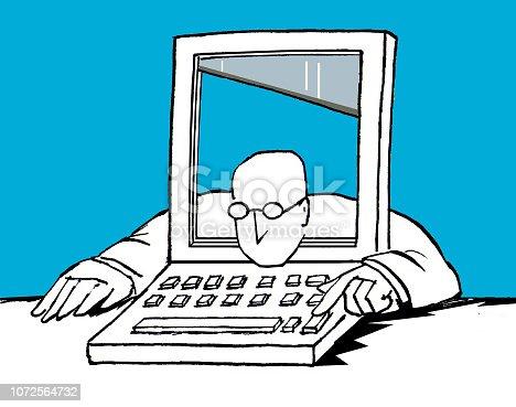 uomo con testa dento computer fatto a ghigliottina