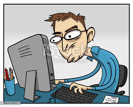Here we have a computer guy. What's he doing? Working hard? Gaming with video games? Graphic design? Or just trolling on forums?