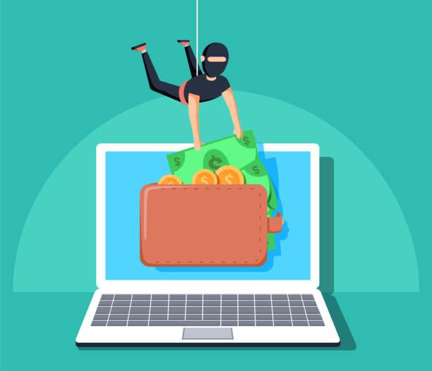 stockillustraties, clipart, cartoons en iconen met computer hacker karakter stelen van geld online. platte cartoon vectorillustratie. persoonlijke toegang tot het internet - steel