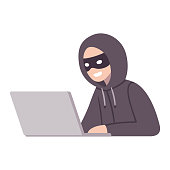 Hacker thief with laptop computer stealing passwords and confidential data. Cyber attack and security vector illustration.