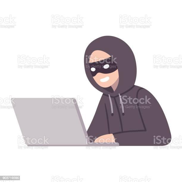 Компьютерный Хакер Вор — стоковая векторная графика и другие изображения на тему Безопасность