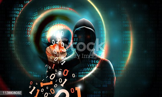 Computer hacker with a hood touches the touch screen binary code. Light waves on abstract binary dark background hacker silhouette. Hacking computer system, database server, data theft, vector
