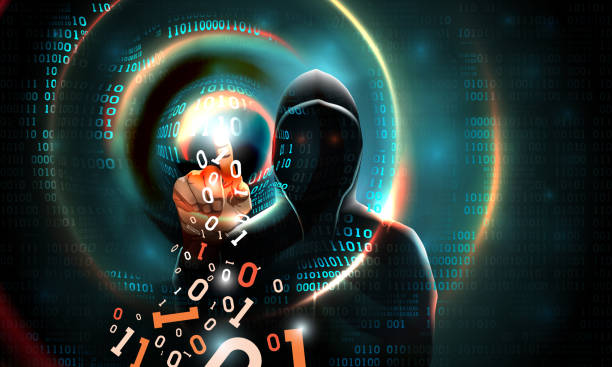 Computer hacker with a hood touches the touch screen binary code. Light waves on abstract binary dark background hacker silhouette. Hacking computer system, database server, data theft, vector Computer hacker with a hood touches the touch screen binary code. Light waves on abstract binary dark background hacker silhouette. Hacking computer system, database server, data theft, vector hacker stock illustrations