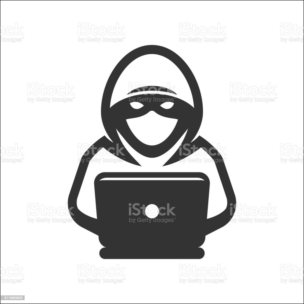 Computer hacker with laptop icon - Векторная графика Anonymous - Organized Group роялти-фри