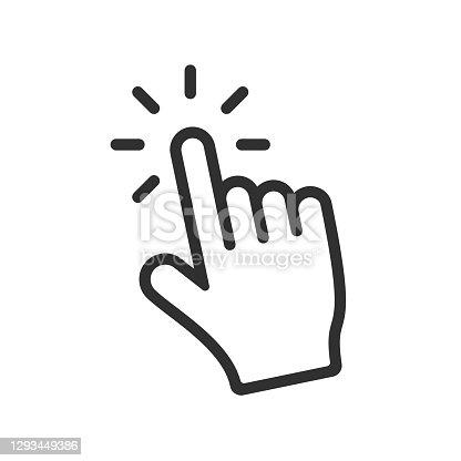 istock Computer hand cursor click, Hand pointer clicking effect, vector illustration 1293449386