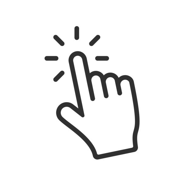 Computer hand cursor click, Hand pointer clicking effect, vector illustration Isolated vector icon of a hand cursor effect mouse stock illustrations
