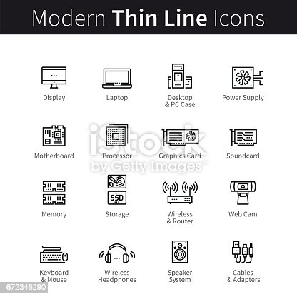 Computer hardware accessories, peripherals, equipment and devices set. From processors and motherboards to graphics cards. thin black line art icons. Linear style illustrations isolated on white.