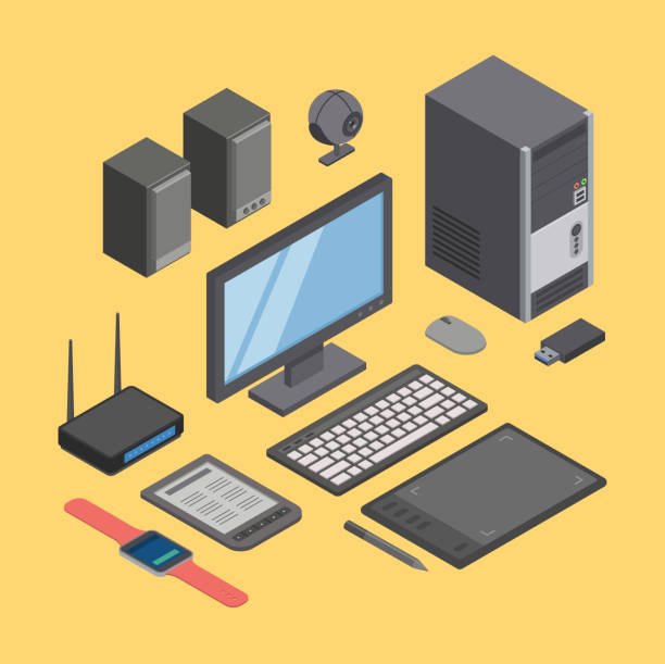 Computer, hardware and modern digital equipment technique vector vector art illustration