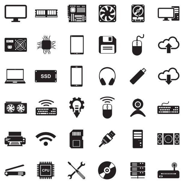 Computer Hardware Icons. Black Flat Design. Vector Illustration. Graphic card, CPU, SEO, PC external hard disk drive stock illustrations