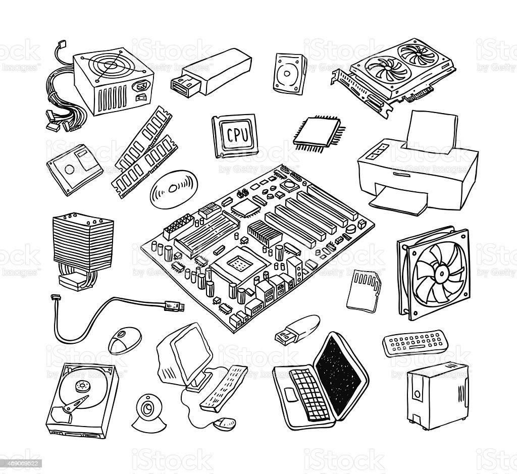 Computer Hardware Icons Pc Components Stockvectorkunst en meer beelden van  2015 - iStock