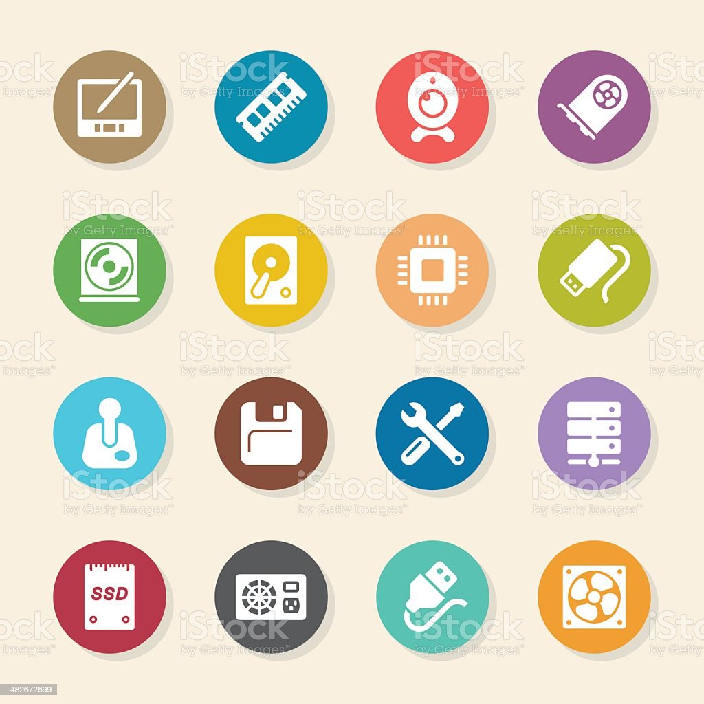 Computer Hardware Icons Set 2 - Color Circle Series vector art illustration