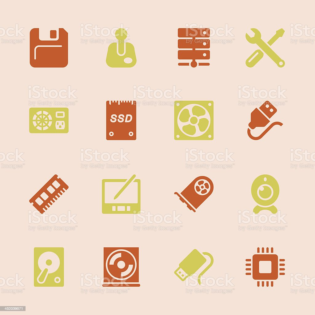 Computer Hardware Icons Set 2 - Color Series | EPS10 vector art illustration
