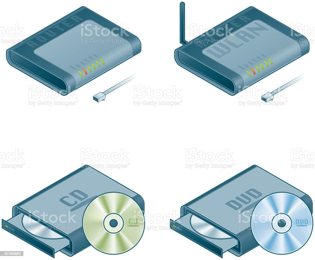 Computer Hardware Icons Set. Design Elements royalty-free computer hardware icons set design elements stock vector art & more images of antenna - aerial