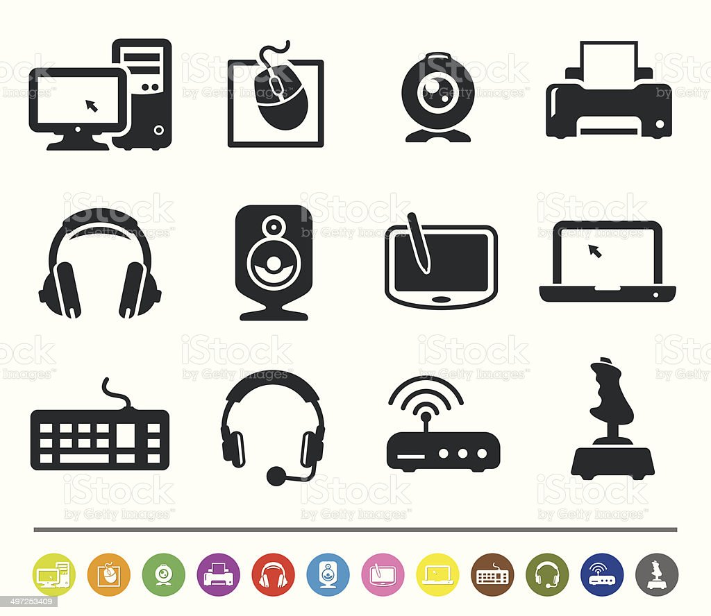 Computer hardware icons | siprocon collection royalty-free computer hardware icons siprocon collection stock vector art & more images of cpu