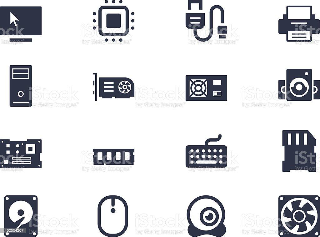 Computer hardware icons vector art illustration