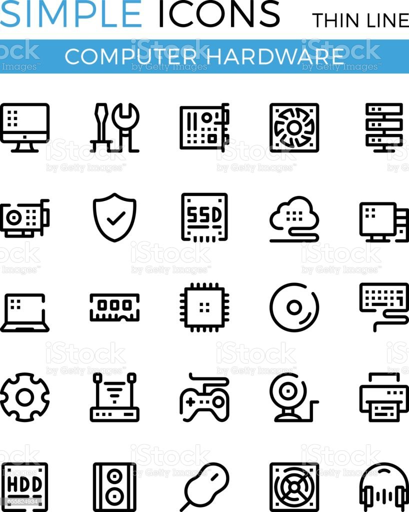Computer Hardware Pc Parts And Components Vector Thin Line Icons Set Simple Circuit 32x32 Px
