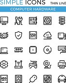 Computer hardware, PC parts and components vector thin line icons set. 32x32 px. Modern line graphic design for websites, web design, etc. Pixel perfect vector outline icons set