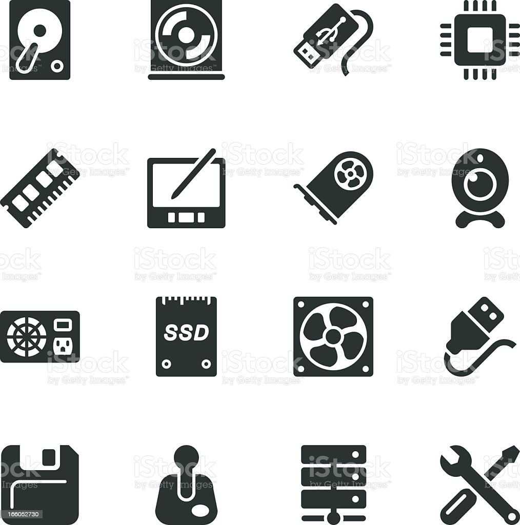 Computer Hardware Silhouette Icons   Set 2 royalty-free stock vector art