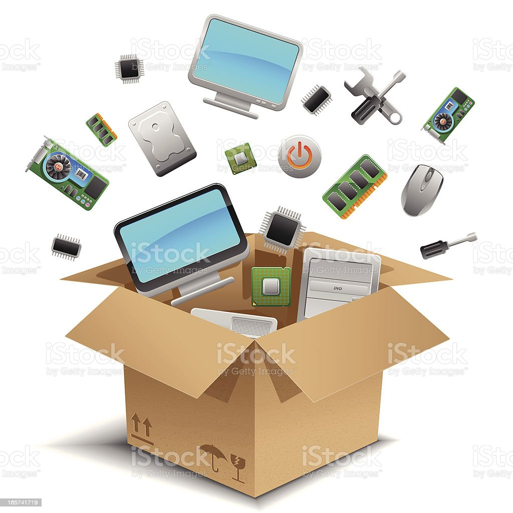 Computer Hardwares in the box royalty-free computer hardwares in the box stock vector art & more images of box - container
