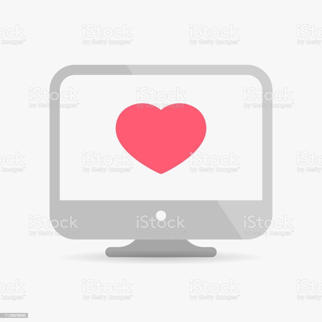 Computer heart in desktop vector art illustration